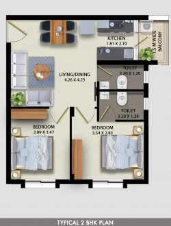 Affordable 2BHK Apartment in Socorro by Linc