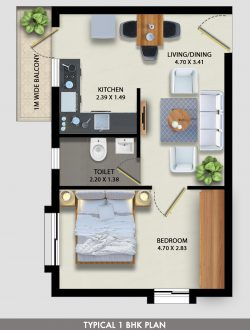 affordable new 1BHK flat in Socorro by Linc